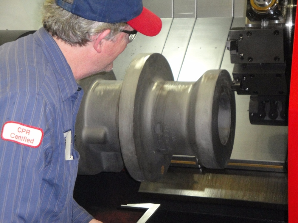 CNC Operator Trueing Ductile Iron Part